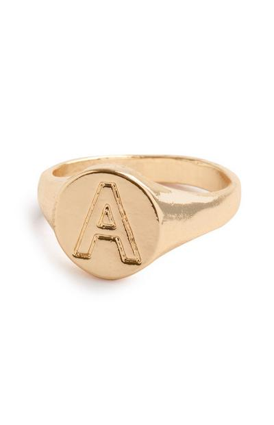 Gold A Initial Soverign Ring