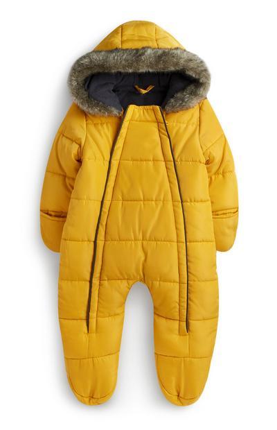 Newborn Boy Yellow Snowsuit