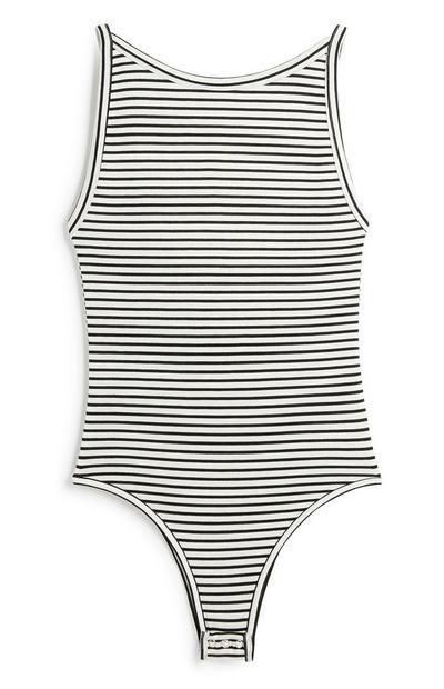 Black And White Stripe Bodysuit
