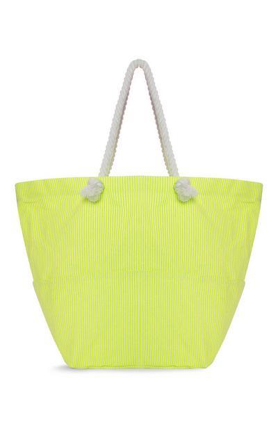 Yellow Stripe Shopper