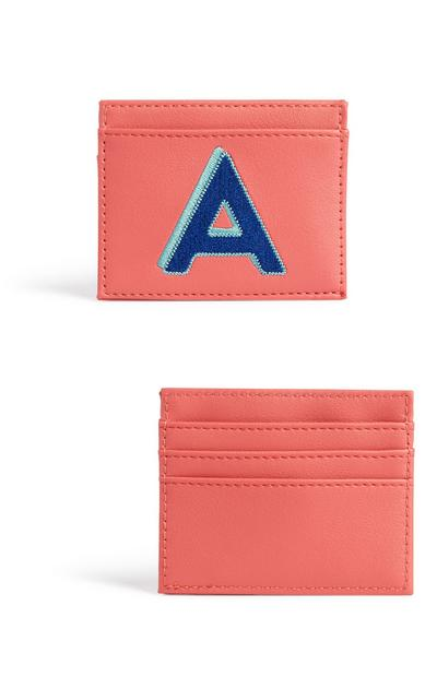 Coral Initial Card Holder