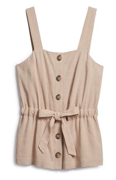 Beige Drawstring Top