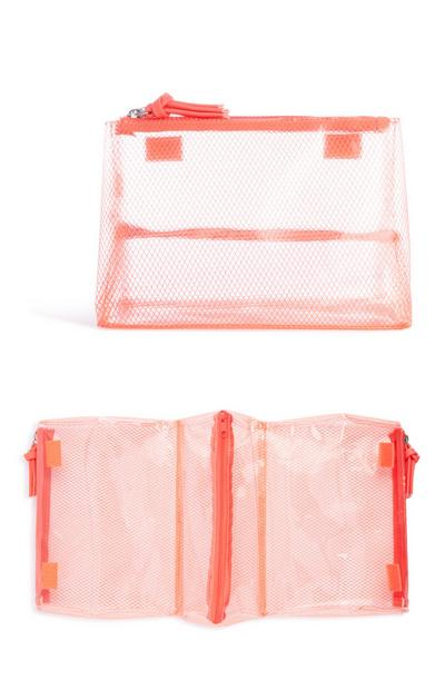 Orange Mesh Wash Bag