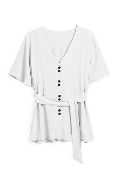 Ivory Belted Blouse