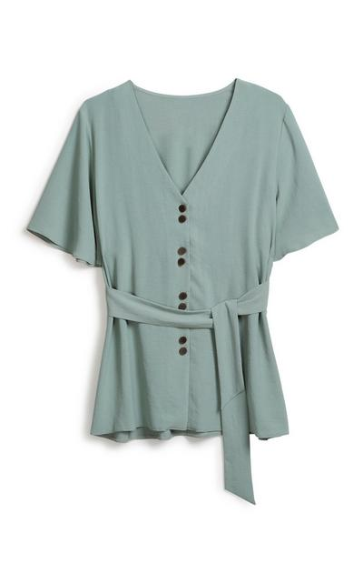 Mint Belted Blouse