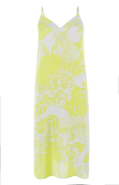 Neon Yellow Floral Slip Dress