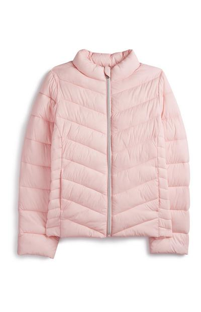 Older Girl Pink Puffer Coat