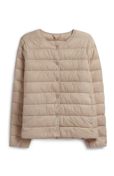 Cream Collarless Padded Coat