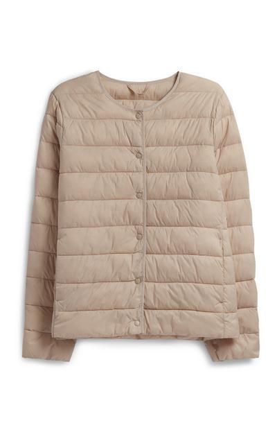 Cream Collarless Padded Coat