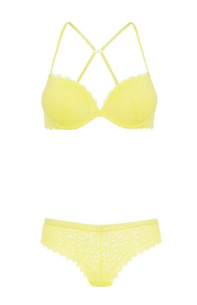 Yellow Bra And Brief Set