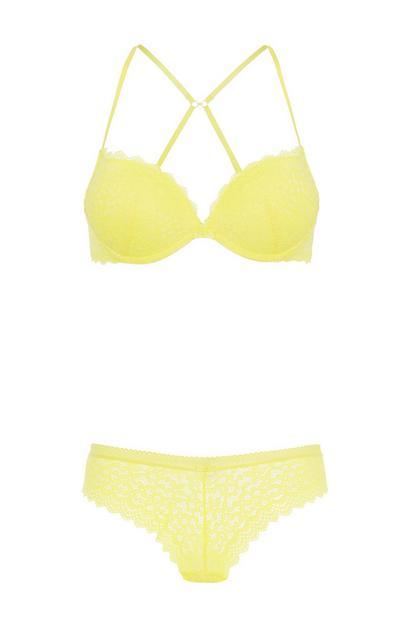 Yellow Bra And Brief Set