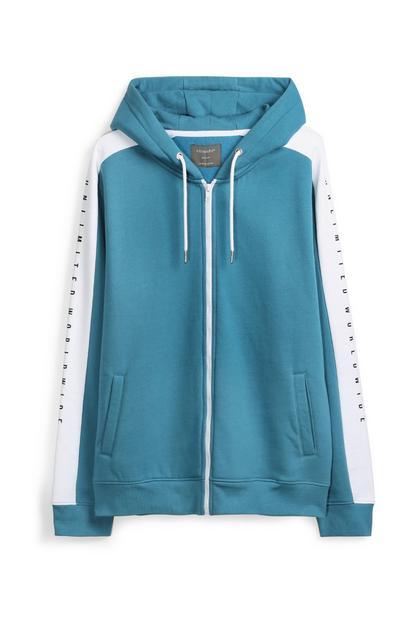 Blaue Kapuzenjacke im Farbblock-Design
