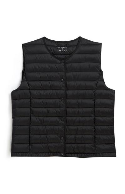 Black Collarless Gilet