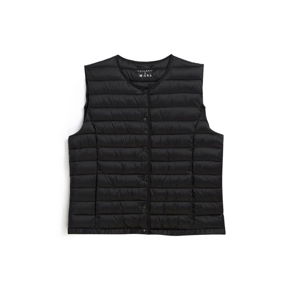 Black Collarless Gilet by Primark