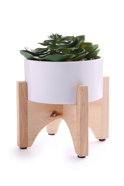 Wooden Stand Faux Plant