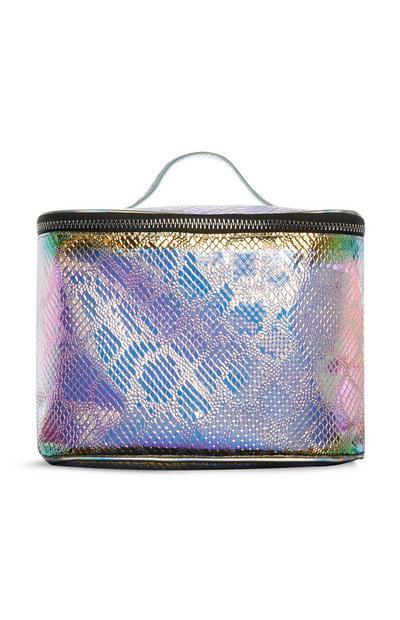 Holographic Snake Print Vanity Bag