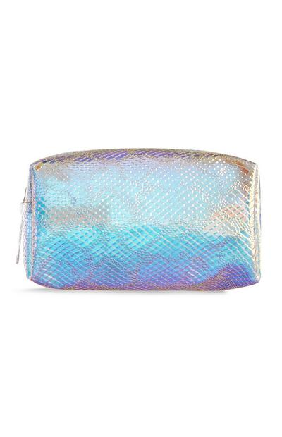 Holographic Snake Print Makeup Bag