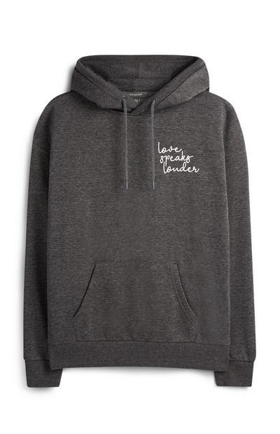 Grey Print Hoodie