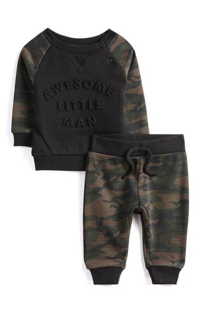 Baby Boy Camo Print T-Shirts And Joggers