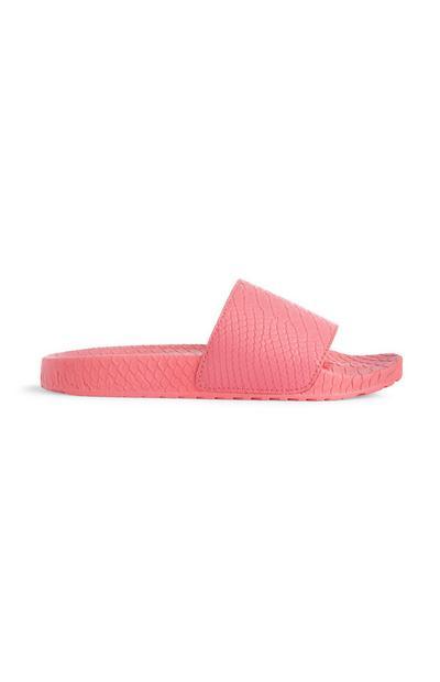 Pink Neon Croc Sliders