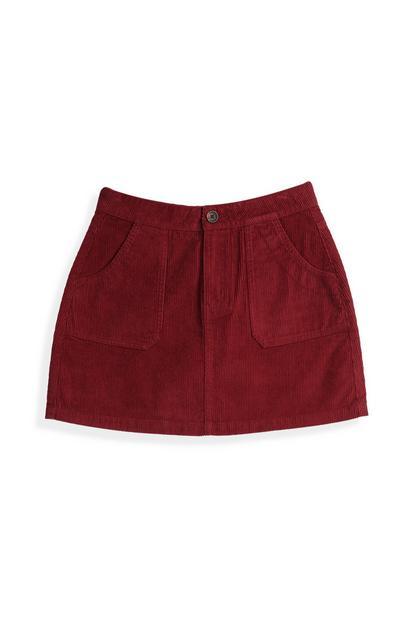 Wine Corduroy Skirt