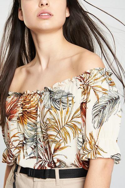 Frill Sleeve Bardot Top