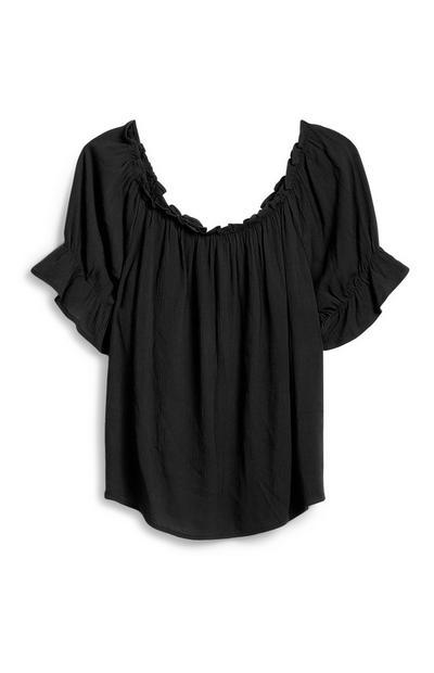 Black Frill Sleeve Top