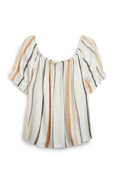 Stripe Frill Sleeve Bardot Top