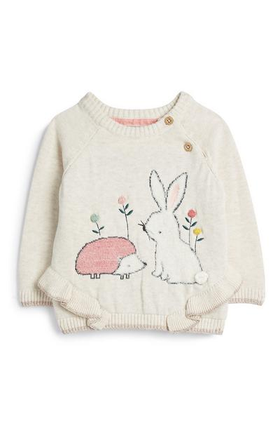 Baby Girl Hedgehog And Bunny Jumper
