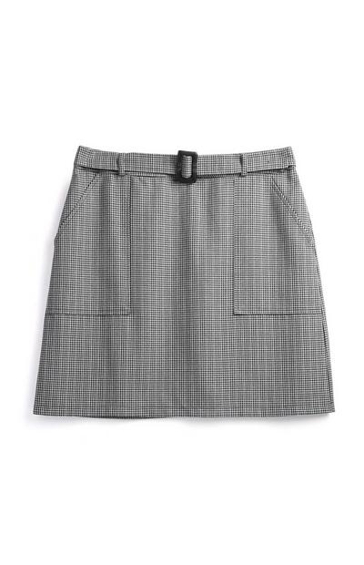 Grey Check Belted Skirt