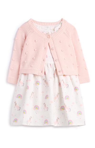 Newborn Baby Girl Pink Dress And Cardigan