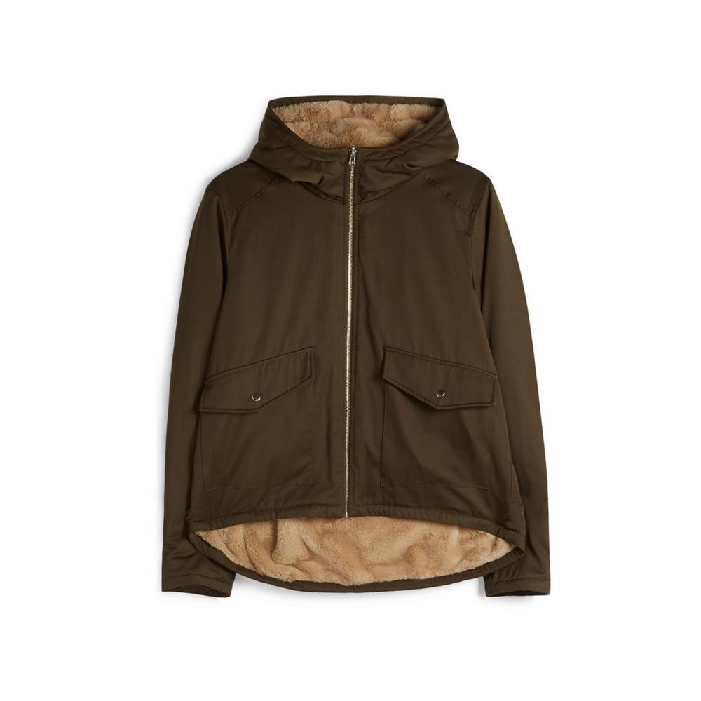 Olive Reversible Faux Fur Jacket by Primark