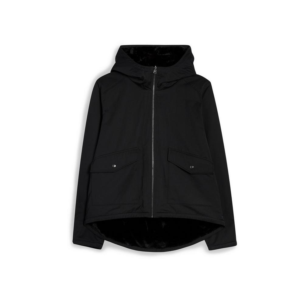 Black Reversible Faux Fur Jacket by Primark