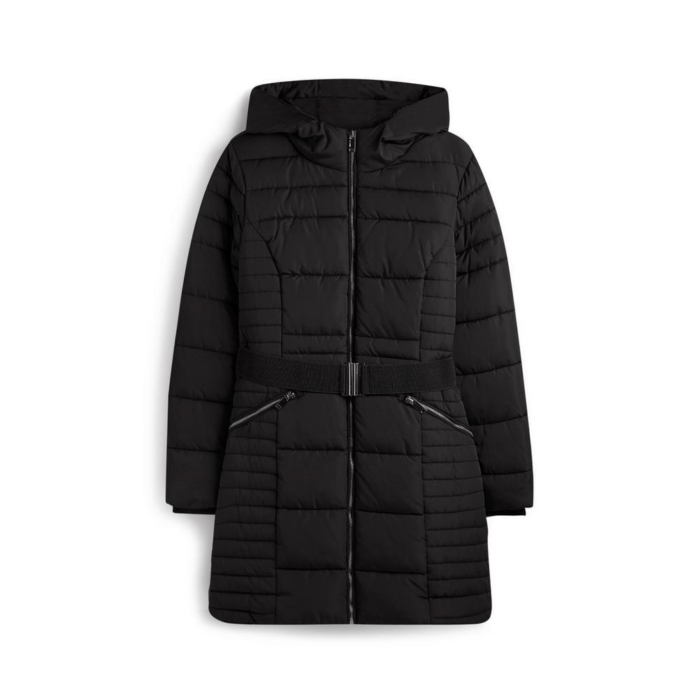 buy popular 163c8 6fa7e Giaccone imbottito nero con cintura | Cappotti | Giacche e ...