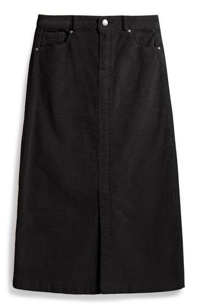 Black Corduroy Midi Skirt