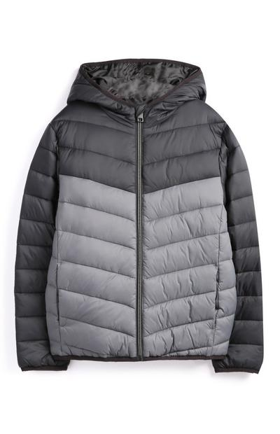 Older Boy Black And Grey Parka