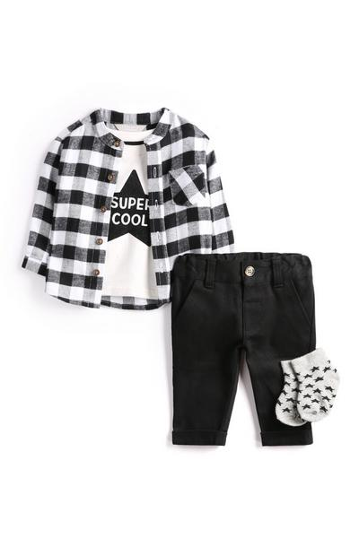 Baby Boy Monochrome Outfit 4Pc
