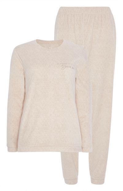 Beige Fleece Pyjama Set