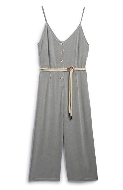 Stripe Belted Jumpsuit