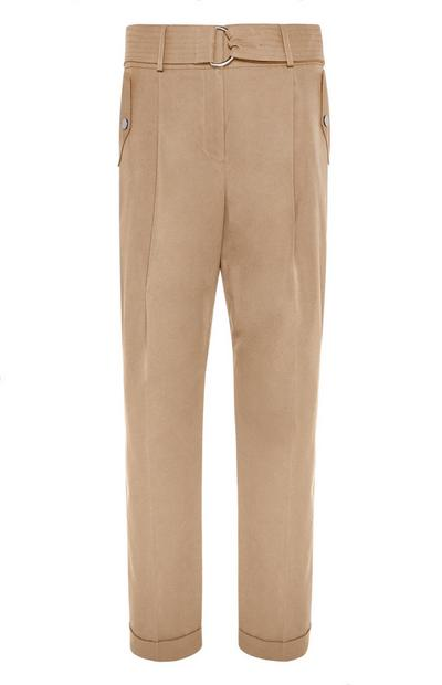 Brown Belted Peg Trouser