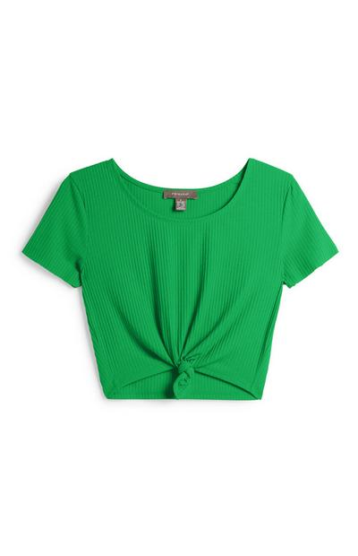 Green Knotted Crop Top