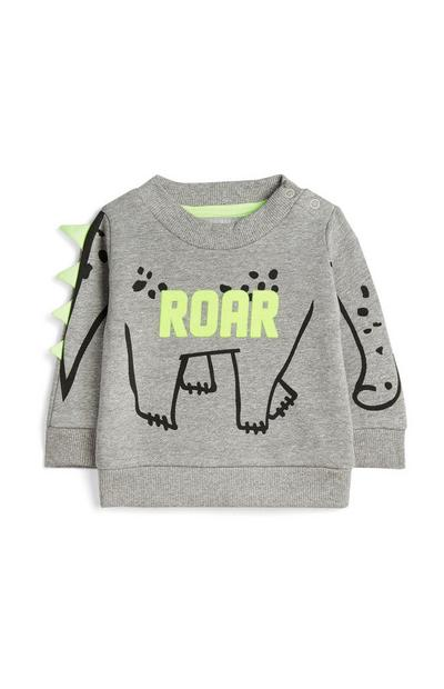 Baby Boy Grey Dinosaur Jumper