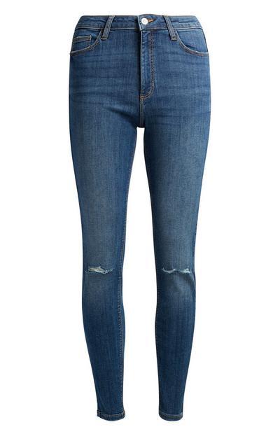 Dark Blue Ripped Skinny Jeans