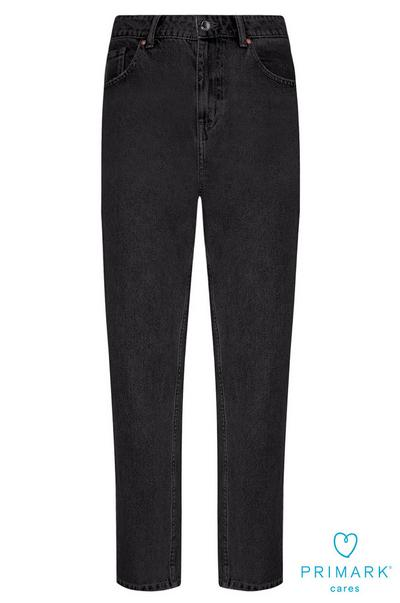 Black Sustainable Cotton Mom Jeans
