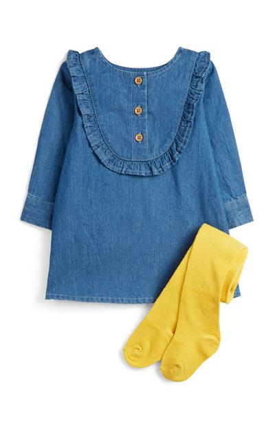 Baby Girl Denim Dress And Socks