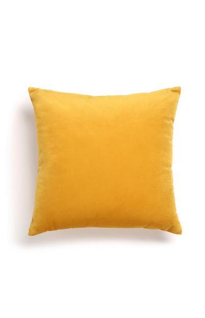Yellow Faux Velvet Cushion
