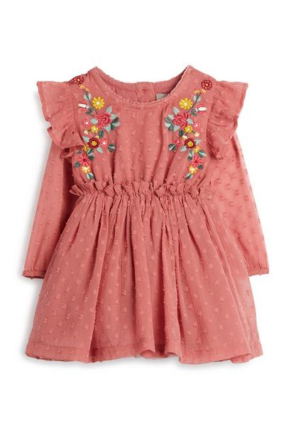 Baby Girl Pink Embroidered Dress