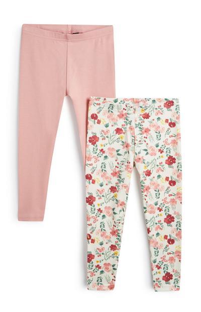 Baby Girl Pink Leggings 2Pk
