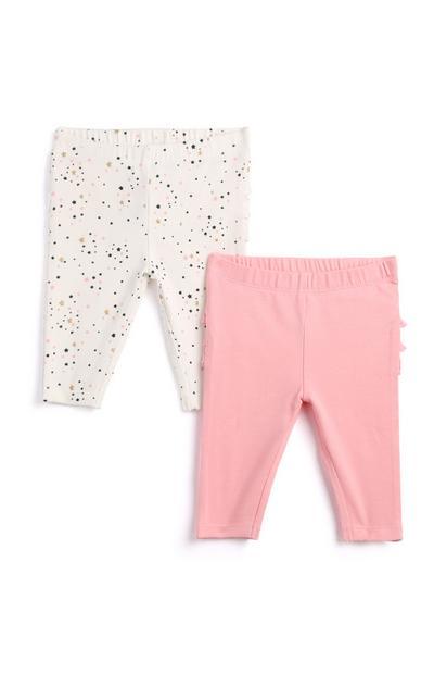 Newborn Girl Pink Leggings 2Pk