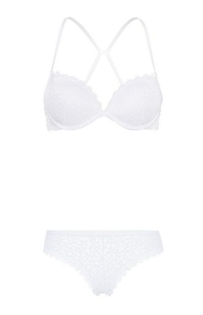 White Bra And Brief Set